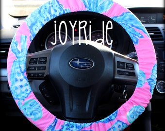 Lilly Pulitzer Pink Pout Barefoot Princess Fabric Steering Wheel Cover lined with Grip Tight Designer Car Accessories Coral For Girls Woman