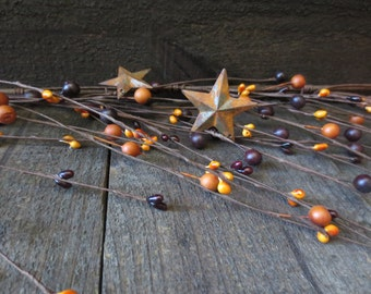 5 Feet Country Burnt Orange & Deep Plum Primtive Wispy Mixed Pip Berry Garland with Rusty Stars 60 inches