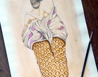 Original Watercolour pop Surrealism illustration - Vanilla Smile, Strawberry Kiss