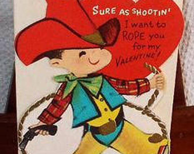 Vintage 50s Cowboy Sure As Shootin, I Want To Rope You Unused Valentines Day Greeting Card