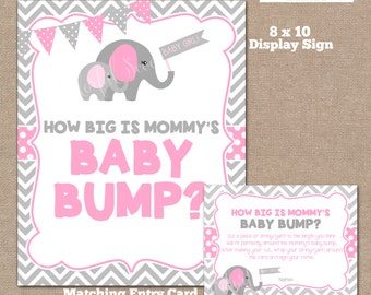 INSTANT DOWNLOAD, Elephant How Big is Mommy's Belly Game, Belly Guessing Game, How Big is Mommy's Belly, Elephant, #0004