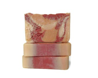 Raspberry Creamsicle Soap - Handmade Artisan Soap - Cold Process - Red and Orange - Orange Citrus Berry Cream - Discount Price