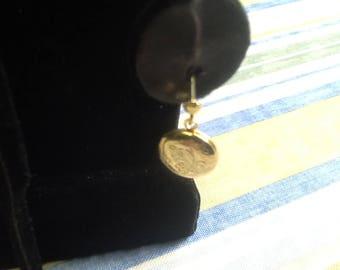 VINTAGE gold tone locket earrings