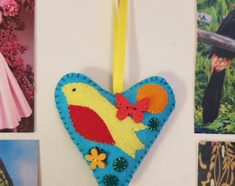 SALE! Was 7.00 npw 2.50 Yellow Bird Handmade Felt Hanging Heart