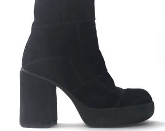 1970s Black Suede boots plateau boot 90's does 70's patchwork heels