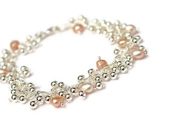 Bijoux de perle bracelet - bracelet en argent - bracelet de bijoux en perles - bracelet de mariée - mariage - mariée bijoux - mariage - cadeau pour elle