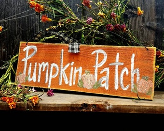 Pumpkin patch sign,rustic halloween decor,glow in the dark,fall wood sign,primitive fall sign,outdoor halloween sign,autumn front porch sign