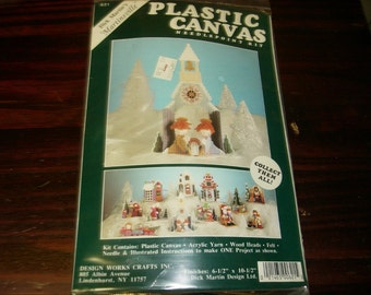 Dick Martin Plastic Canvas Kit Martinsville Plastic Canvas Kit 621 Church and Nativity Scene Christmas Village