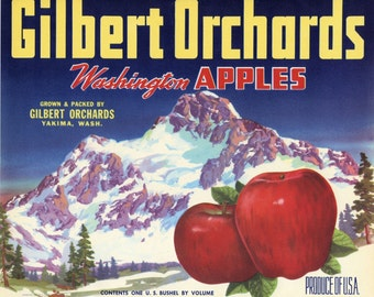 Snow Capped Mountain in Yakima Apple Crate Label