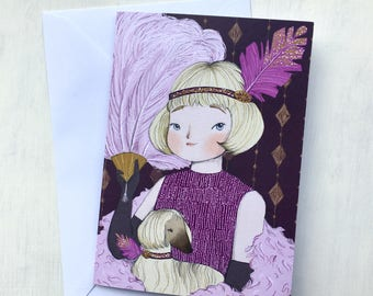 1920s Portrait Greeting Card - Birthday - purple pink // A6 size - blank inside - gift - stationery - flapper - 1920s party - pets