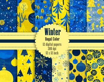 12 Winter Pattern Digital Papers in Royal Color in 12 inch, Instant Download, High Resolution 300 Dpi, Commercial Use