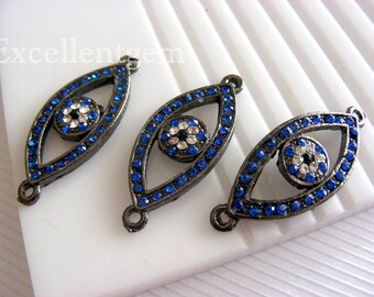 5- Bracelet connector Gunmetal Evil eye with Royal blue rhinestone Bracelet Connector