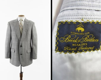 Vintage Brooks Brothers Cashmere Jacket Glen Plaid Pearl Gray Sport Coat - 42 Long