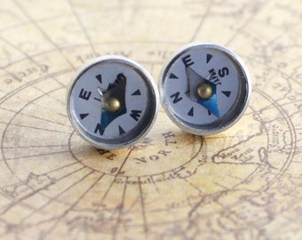 Working Compass Studs, Steampunk Compass Earrings, Graduation Gift, Wearable Tech Jewelry, Traveler gift, Geek Jewelry, Surgical Steel Studs