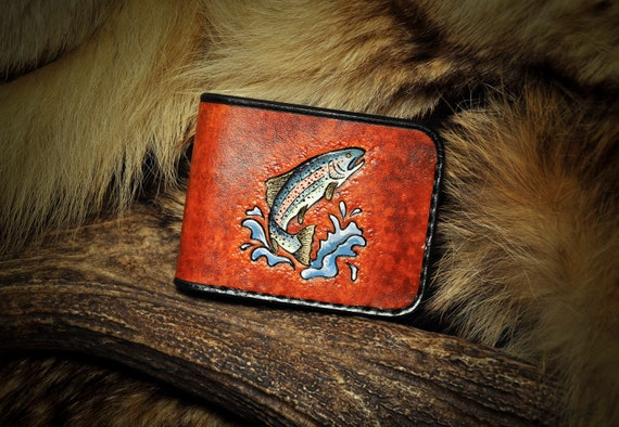 Leather Wallet - Tooled Custom Trout Fish Wallet Billfold
