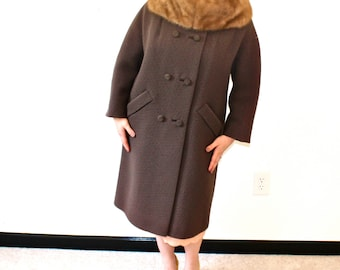 60s 1960s Mod Strawberry Blonde Mink Fur & Chocolate Brown Long Coat Fall Fashion Winter Fashion S M L Audrey Mad Men real fur