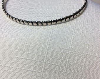 Sterling Silver Bangle Chain Bracelet circle pattern