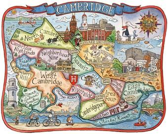 """Cambridge Massachusetts Neighborhood Map 11""""x14"""" Art Print"""