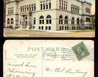 Indianapolis Public Library With Horse and Buggy Indiana Vintage Postcard #229