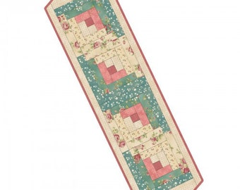 Welcome Home Fabric Collection, Log Cabin Table Runner Kit, 100% Premium Cotton