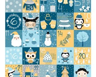 Digital Christmas countdown calendar, Cute diy Christmas advent calendar instant download, Kids advent numbers stickers clipart, printable
