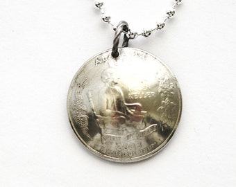 Domed Coin Necklace, Alabama Necklace, U.S. State Quarter Dollar Jewlery, Helen Keller Pendant, 2003, by Hendywood