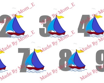 Sail Boat in Water Number Set 1-9