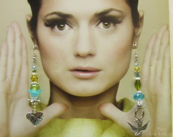 TURQUOISE and LIME Asymmetrical Mismatch Dangle  EARRINGS