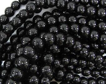 "10mm glass round beads 14"" strand black 32518"