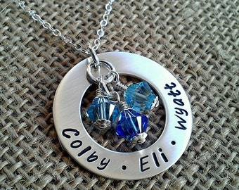 Mother Necklace - Mom Necklace - Family Washer Necklace with Kids Names and Swarvoski Crystal Birthstones by Stamped Evermore