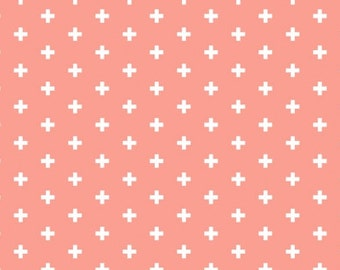 Blender Fabric, Small Cross Fabric - Positive from Dear Stella 592 Sienna (Salmon) - Priced by the 1/2 yard