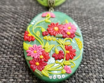 JADE GARDEN II PolymerClay Fashion Jewelry, Nature Inspired Jewelry, Floral Pendant set