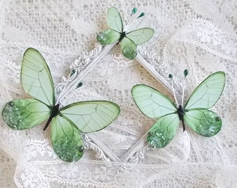 Butterflies, Scrapbooking, Mixed Media, Shabby Chic, Tag Art, Home Decor, Green Sea Glass, Set of 3