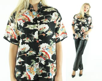 Vintage 50's Japanese Rayon Blouse Short Sleeves Shirt Black White Top 1950s X-large XL  Large L Asian