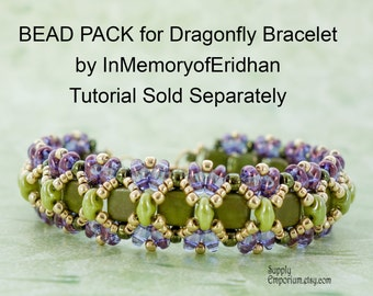 Purple and Olive Dragonfly Bracelet BEAD PACK BB5, for InMemoryofEridhan Tutorial, Sold Separately, Bead Pack BB-5