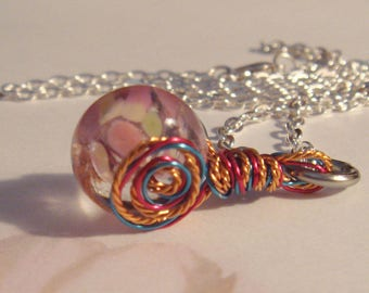 "My#181LW - A Pretty PinkLampwork Bead Pendant! w/Mixed Spiral Wraps/Chain 24""..Bead Size: 15mm New twisted Mix Wires!"