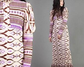 SALE SALE SALE vintage 70s Psychedelic print Juliette Sleeve hippie dress xs s / purple victorian boho mod maxi mad whirl dress 1960s 60s 19