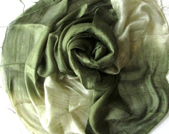 Olive Green Silk Shawl Hand Woven Pure Raw Silk Accessories Wedding Shawl Bridesmaid Gift Hand Dyed Wedding Gift Handmade Accessories