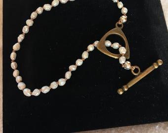 Pearl Bracelet with Oxidized Brass Clasp