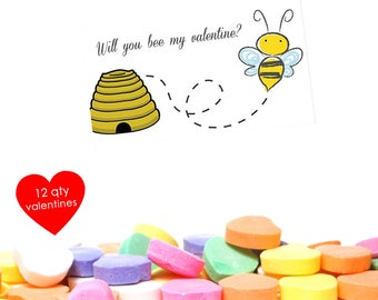 12 Bee Valentine- School Valentines- School Valentines Day Card- Class Valentines- Kids Valentines Cards- Class Valentine Cards- Girl Boy