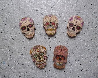Set of 5 skull skull, two holes, fancy button wooden buttons, sewing, crochet, knitting