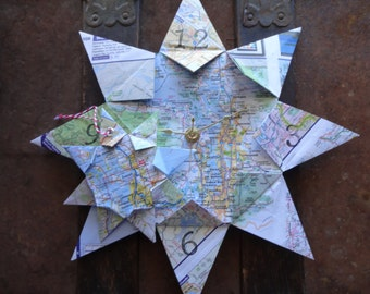 Origami Map Clock and Mini Origami Map Ornament Bundle, Any 2 Cities! Home Decor, Wall Art, Vacation, Wedding, Keepsake Gift, Valentines