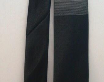 1960's Black and Grey Detail Slim Jim Style Tie