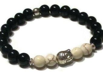 Black Agate Cream Magnesite Buddha Bead Meditation Bracelet