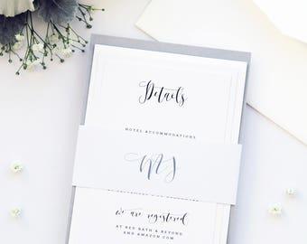 Alexis Silver Wedding Invitation Set, Modern Calligraphy Wedding Invitation, Wedding Invitations Templates or Printed Invitation Kits, Grey
