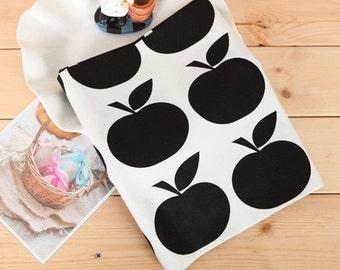 Cotton Fabric Big Black Apple By The Yard