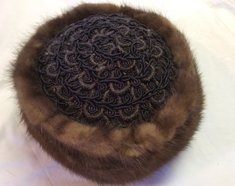 Item 8:  Vintage Mink Pill Box Hat Pillow