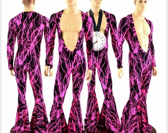 "Mens ""Flava Rava"" Long Sleeve Deep Bro V Neck UV Glow Pink Lightning Bell Bottom Catsuit Party Animal Gay Pride Open Chest Nips Out - 154556"