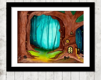 Fairy Treehouse - PRINT of original watercolor painting, 8x10 watercolor print, 5x7 watercolor print, unframed, unmatted, magical forest