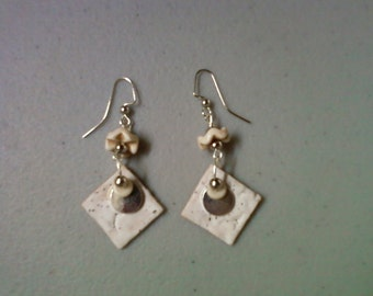 Bone White Ceramic Earrings (1010)